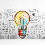 Colorful light bulb and business icons